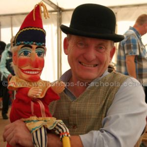 Ron with Mr Punch puppet