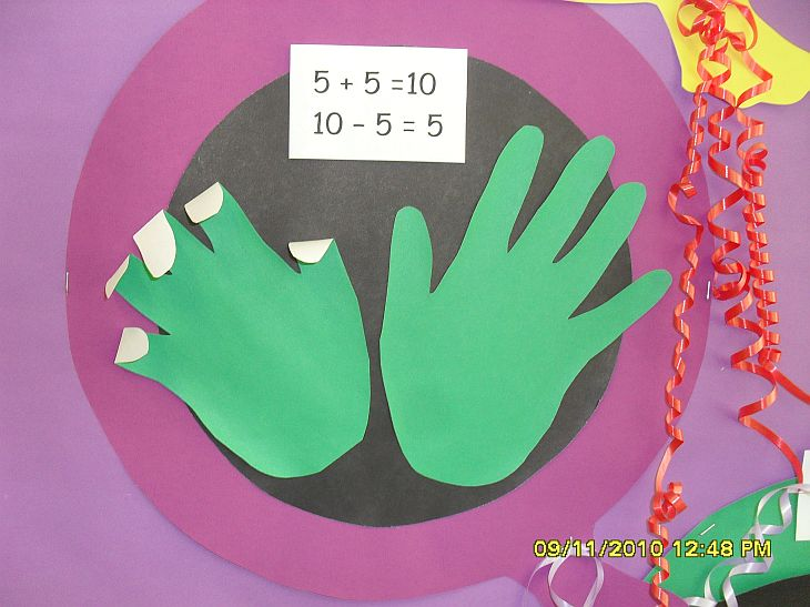 Adding and subtracting using fingers display