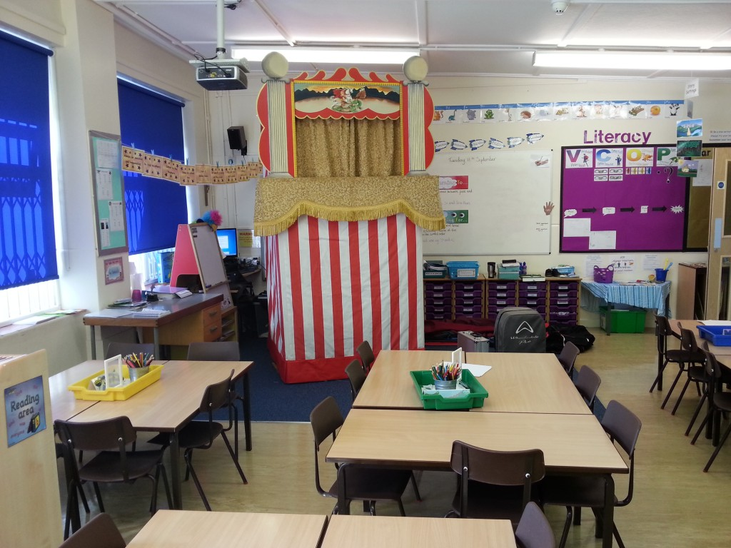 Punch and Judy Show in a classroom