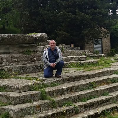 On the steps of a Roman temple