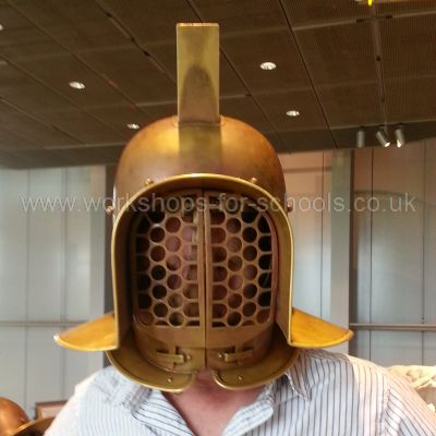 Ron wearing a gladiator helmet