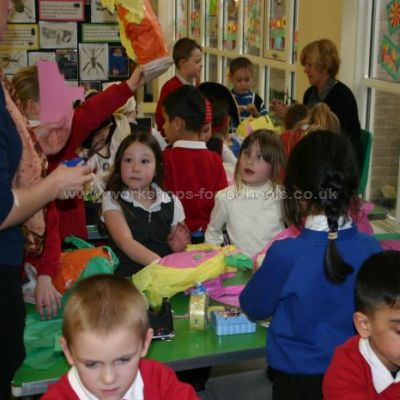 Children making puppets on Pirate Day