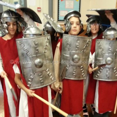 Children dressed as Roman soldiers