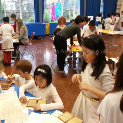 Roman activities in school hall