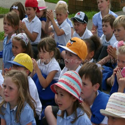 Children watching the Punch and Judy Show